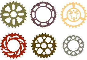 Fiets sprocket plat vector set