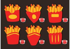 Colección De Fry Fries Box Vector