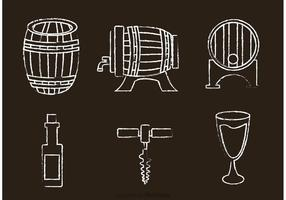 Kreide Drawn Whisky Vektor Icons