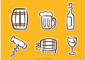 Whiskey Sticker Icons Vector