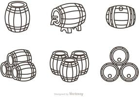 Whisky Barrel Outline Icons Vector