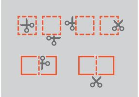 Scissors Coupon Vector Icons