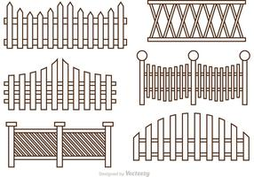 Fence Outline Ikoner Vector