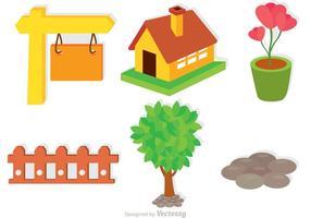 Conjunto de vetores de ícones do jardim
