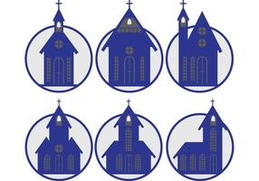 Blue Country Church Vectors