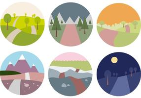Flat Woodland Road Vector Set