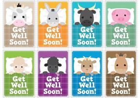 Get Well Soon Children Card Vectors