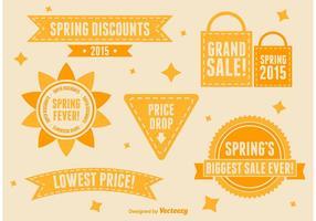 Vectores de signos de venta de primavera y verano