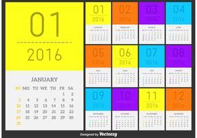Calendário do vetor 2016 Estilo mínimo