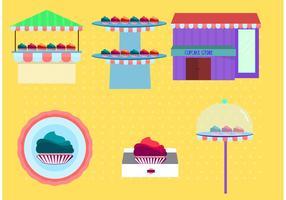 Vetores da loja de cupcakes