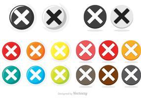 Círculo de cancelamento colorido Botão Ícones Vector Pack