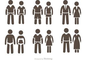 Couple Stick Figure Icons Vector Pack