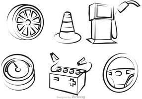 Auto Service Outline Icons Vektor