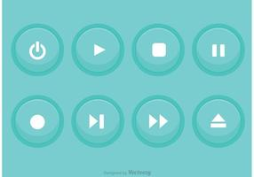 Media Player Blue Button Vectors