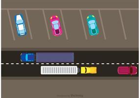 Tráfico de coches y vector de estacionamiento