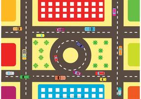 Aerial View Of Highway Traffic Vector