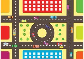 Vista aérea del vector de tráfico de la carretera