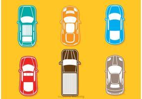 Vecteur de voitures topview colorées