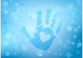 Vector grátis Child Handprint em vidro e pingos de chuva