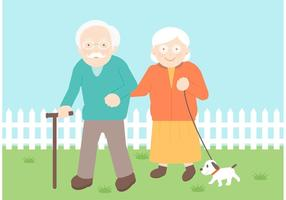 Free Senior Couple Vector Illustration