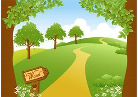 Vector Woodland Path Vector Art