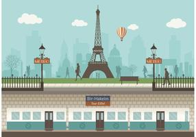 Paris Underground With Cityscape Vector