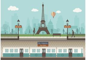 Freie Paris U-Bahn Mit Stadtbild Vektor