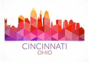 Free Abstract Colorful Cincinnati Skyline Vector
