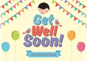 Get Well Soon cards vector free