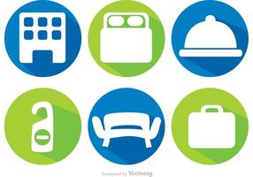 Long Shadow Hotel Icons Vectors