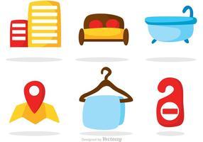 Vecteurs d'icônes d'hôtels couleur