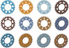 Vecteurs de pignons de vélo colorés