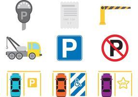 Parkerings ikonvektorer