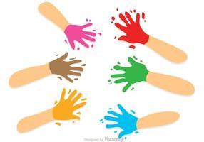 Pintado, niño, handprint, vectores