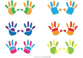 Vecteurs colorés de l'empreinte de l'enfant
