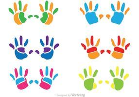 Bunte Kinder Handabdruck Vektoren