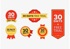 30 Days Free Trial Badges Red And Gold Vector