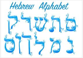 Water Hebrew Alphabet Vectors