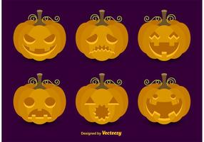 Cartoon Vector Pumpkin Faces