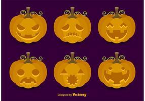Cartoon Vector Pumpkin Faces
