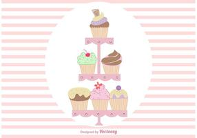 Hand Dramé Cute Cupcake Stand Vectors