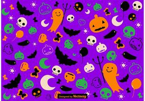 Gullig Handdragen Halloween Mönstervektor