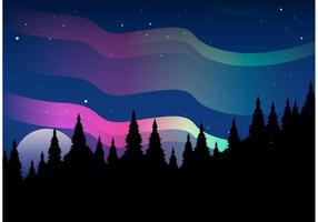 Northern Lights Vector Landscape