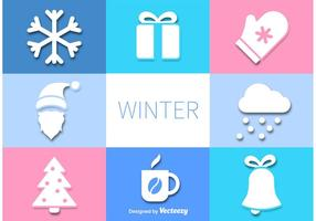 Ícones de inverno vetorial