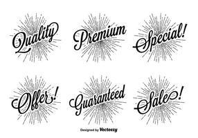 Ensemble d'étiquettes promotionnelles rétro