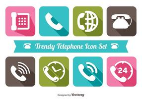 Trendy Telephone Icon Set