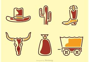 Wild-west-icons-vector