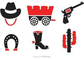 Black And Red Wild West Icons Vectors