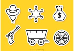 Wild West Outline Pictogrammen Vector
