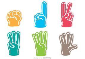 Colorful Foam Finger Icons Vectors